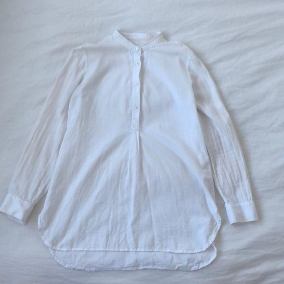 Madewell Tops - Madewell collarless linen shirt in cream